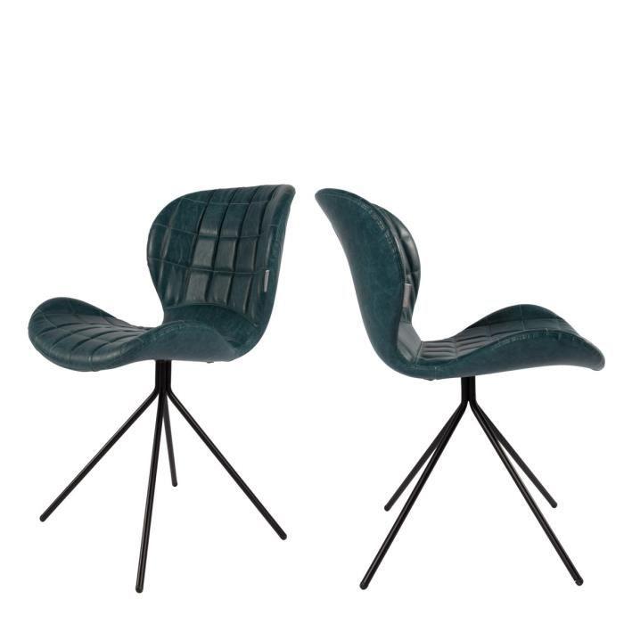 Lot de 2 chaises design omg skin couleur bleu p trole for Chaise eames bleu petrole