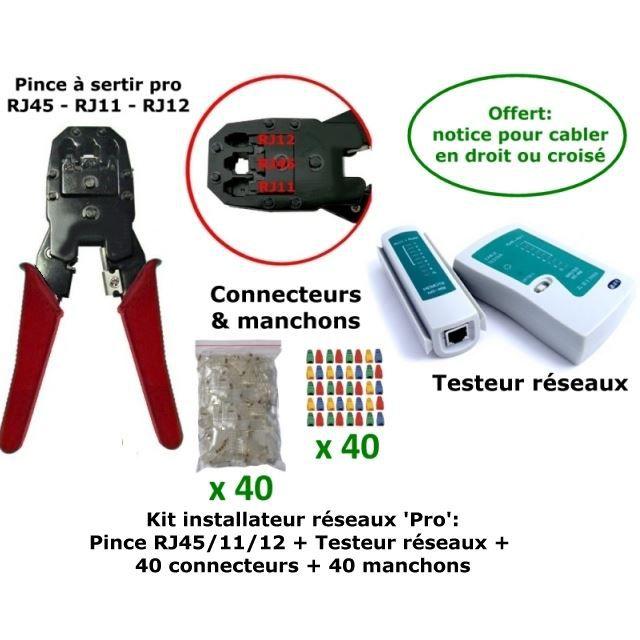 kit r seau pince pro rj45 testeur pro prix pas cher cdiscount. Black Bedroom Furniture Sets. Home Design Ideas