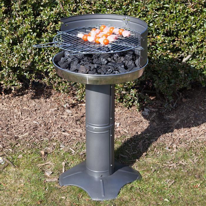 Barbecue charbon rond diametre 50 cm en acier noir et cuve - Barbecue rond charbon ...