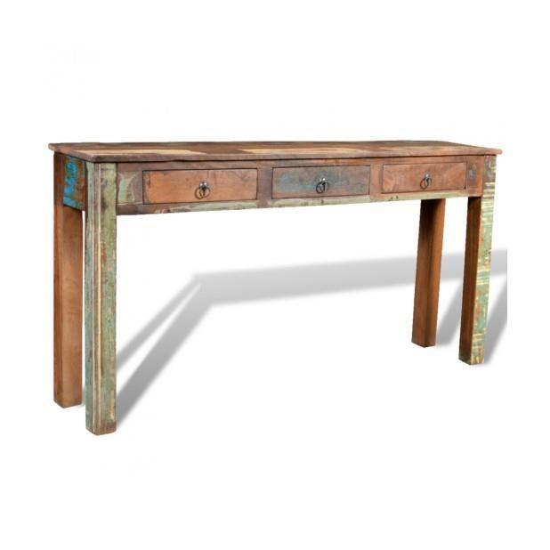 Superbe table d 39 appoint en bois avec 3 tiroirs achat for Table d appoint pliante en bois