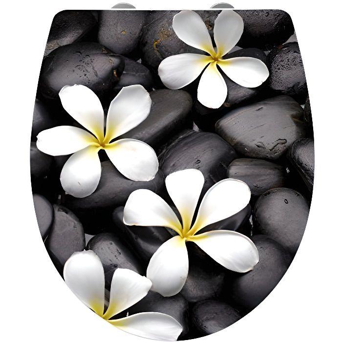 21749100 wenko abattant wc ultra brillant motif bloom acrylique fermeture - Abattant wc fermeture automatique ...