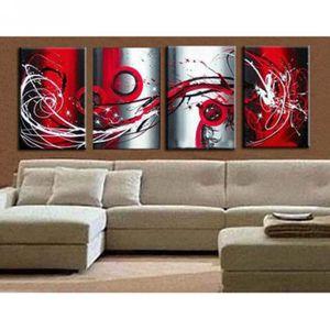 4pcs set tableau peinture main huile rouge et noir sur for Peinture tableau blanc castorama