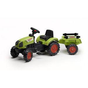 TRACTEUR - CHANTIER FALK Tracteur à pédales vert avec remorque Claas