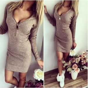ROBE  Robe Mini Femme Hiver Manches Longues Zip Slim...
