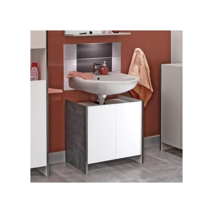 Meuble sous lavabo 2 portes beton blanc achat vente for Meuble sous lavabo une porte