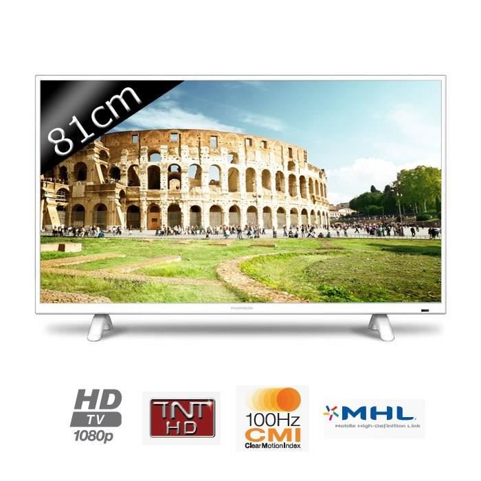 thomson tv 32fa3103w full hd 1080p 81cm 32 pouces led 2 hdmi classe a blanche. Black Bedroom Furniture Sets. Home Design Ideas