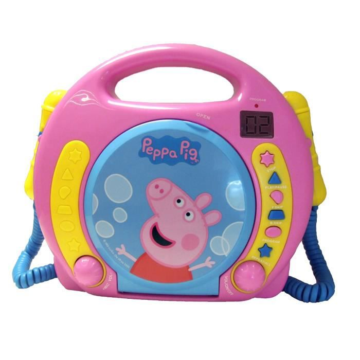 peppa pig lecteur cd boombox avec double micro achat. Black Bedroom Furniture Sets. Home Design Ideas