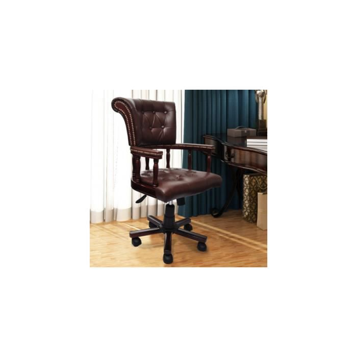 fauteuil en cuir m lang achat vente chaise de bureau marron cdiscount. Black Bedroom Furniture Sets. Home Design Ideas