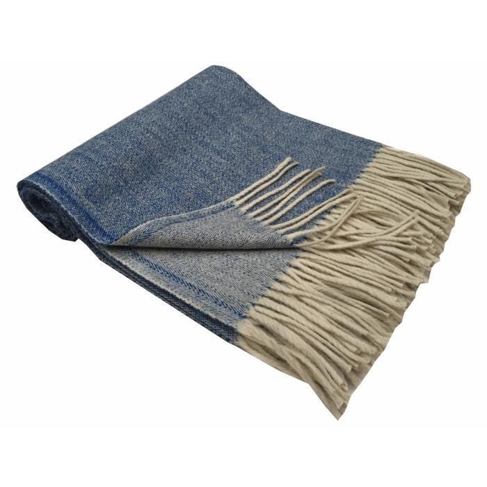 plaid nomade chevron bleu en laine du portugal achat vente couverture plaid cdiscount. Black Bedroom Furniture Sets. Home Design Ideas