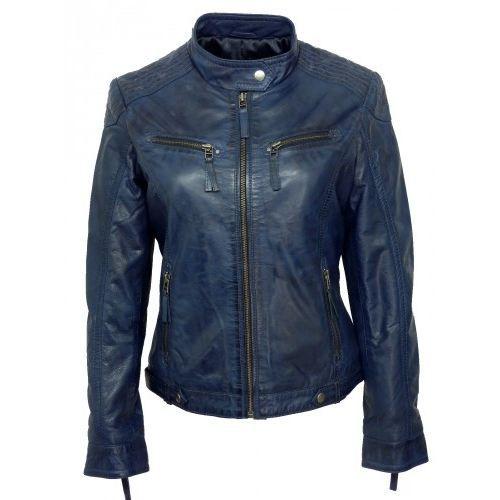 Blouson faux cuir femme bleu marine