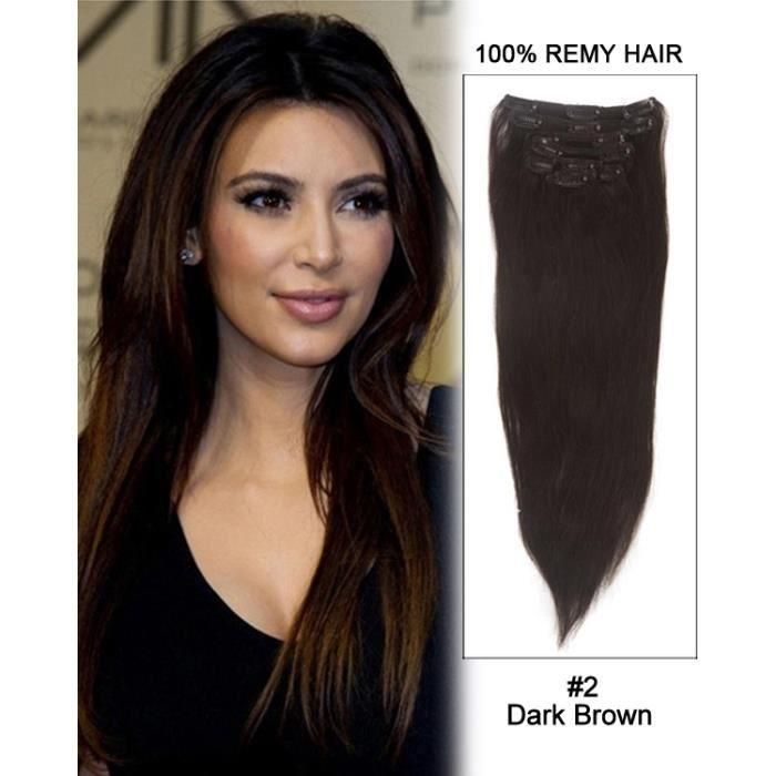 feshfen 14 28 2 brun fonc straight cheveux raides extensions a clips cheveux naturels. Black Bedroom Furniture Sets. Home Design Ideas