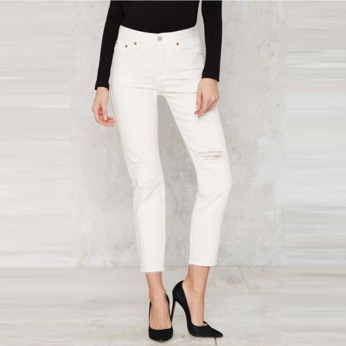 haoduoyi pantalon jeans trou mince slim femme blanc blanc blanc achat vente jeans cdiscount. Black Bedroom Furniture Sets. Home Design Ideas