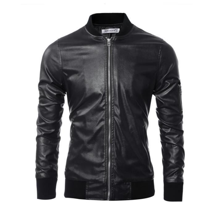 veste cuir homme moto la mode blouson cuir homme moto noir noir achat vente veste cdiscount. Black Bedroom Furniture Sets. Home Design Ideas