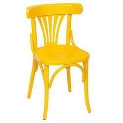 Lot de 4 chaises bistro jaune achat vente fauteuil jardin lot de 4 chaises bistro jaune for Chaise de cuisine jaune
