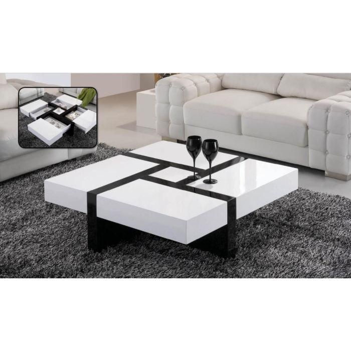 Table basse laqu e noire et blanche black white achat - Table basse blanche et noir ...