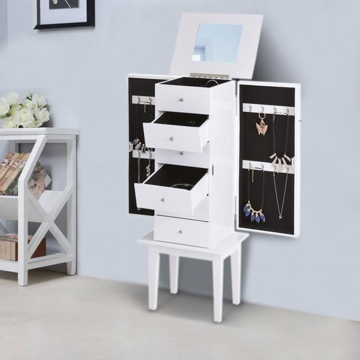 Ikayaa armoire bijoux sur pied avec miroir cabinet bo te de rangement blanc achat vente Miroir de chambre sur pied