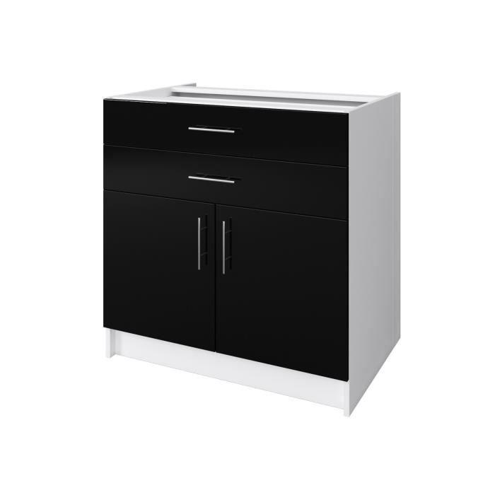 Cuisine noire laque elements bas city meuble four l 60 cm for Meuble de cuisine noir laque pas cher