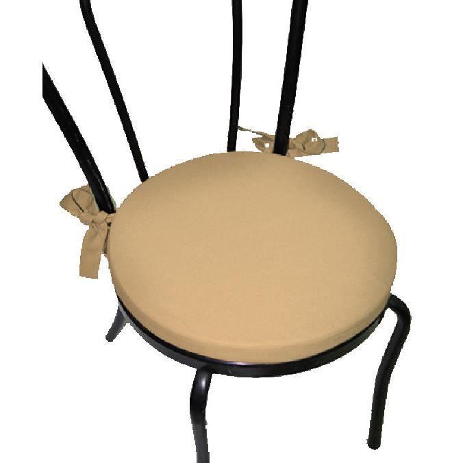 lot x2 galette de chaise ronde serge beige achat vente coussin de chaise cdiscount. Black Bedroom Furniture Sets. Home Design Ideas