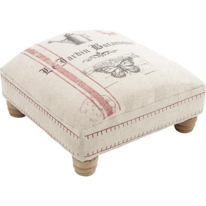 pouf repose pieds en bois et tissu achat vente repose pieds soldes d t cdiscount. Black Bedroom Furniture Sets. Home Design Ideas