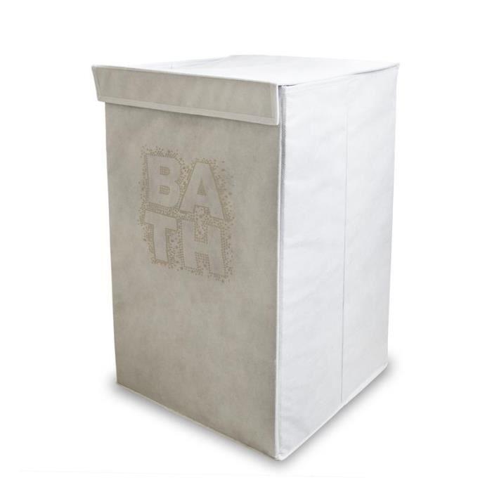 panier linge pliable bath blanc achat vente panier a linge panier linge pliable bath. Black Bedroom Furniture Sets. Home Design Ideas