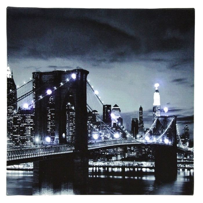 Tableau toile lumineuse 12 led deco new york po achat - Tableau new york led ...