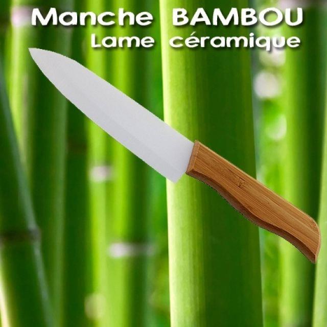 couteau ceramique bambou 15cm qualite pro achat vente couteau de cuisine couteau ceramique. Black Bedroom Furniture Sets. Home Design Ideas