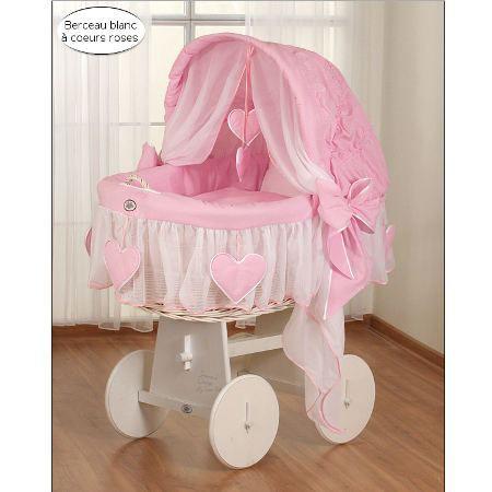 Berceau b b osier blanc complet textile rose achat vente berceau et supp - Cdiscount berceau bebe ...