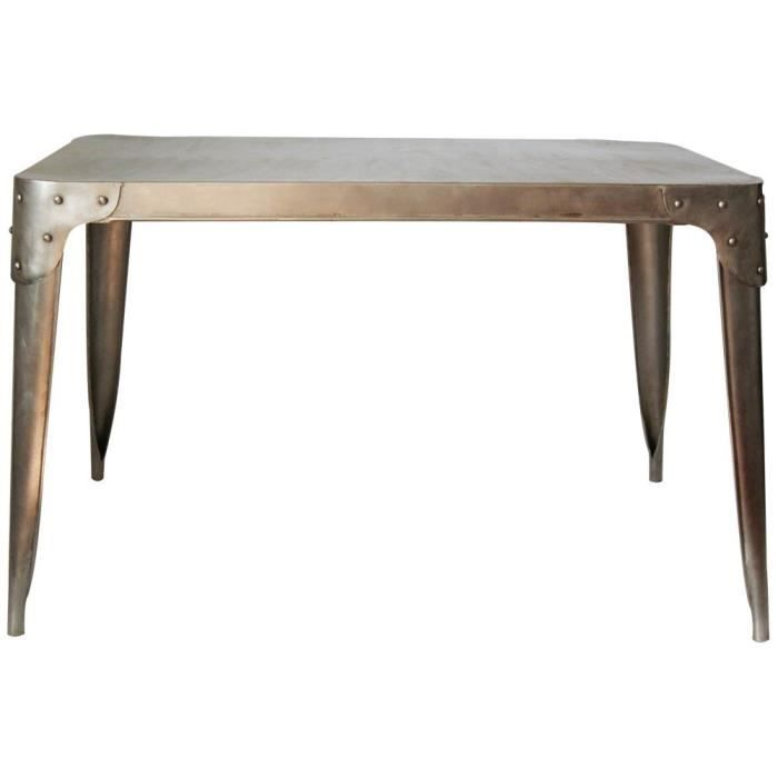 Table de style industriel en m tal 6 places achat for Table a manger style industriel