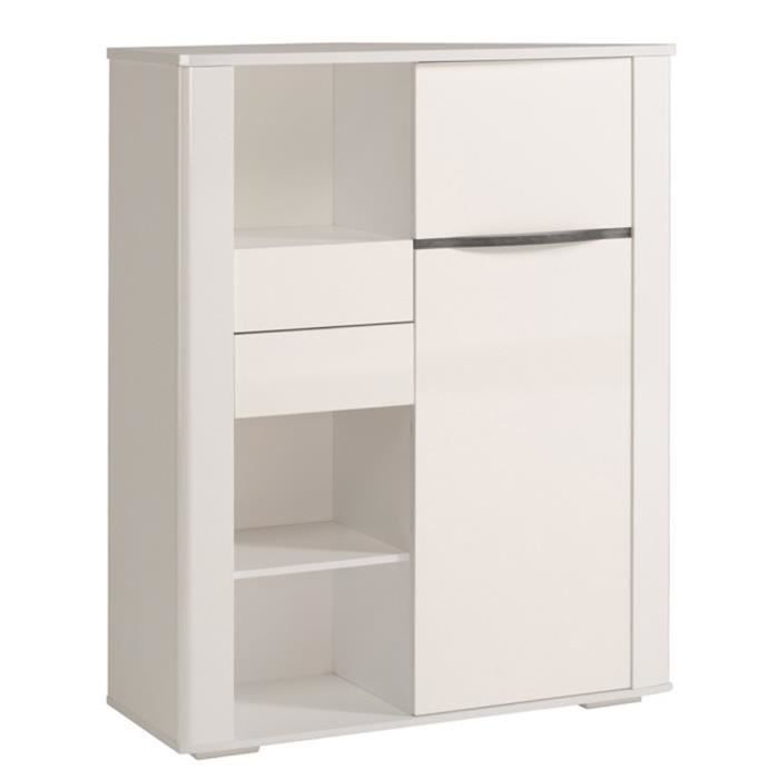 bahut coloris blanc brillant h 135 x l 100 x p 38 cm achat vente buffet bahut bahut blanc. Black Bedroom Furniture Sets. Home Design Ideas