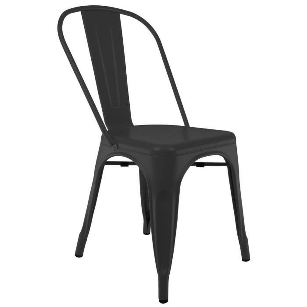 chaise privee chaise industrielle bistro noir sans coussin achat vente chaise. Black Bedroom Furniture Sets. Home Design Ideas