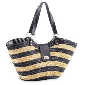 sac paille de plage style cabas noir noir achat vente panier sac de plage 3700798675042. Black Bedroom Furniture Sets. Home Design Ideas