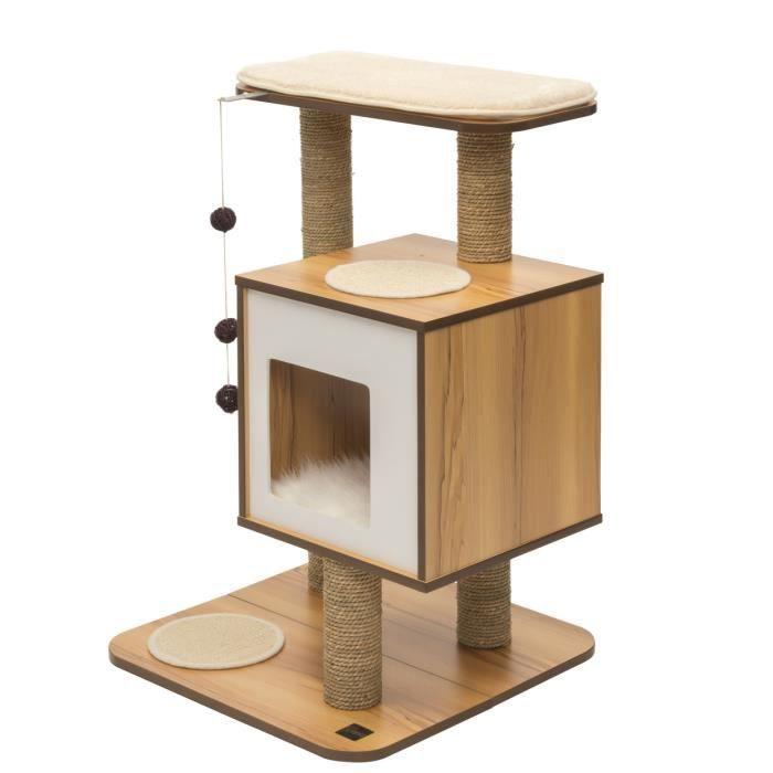vesper arbre chat base noyer 60 5 x 56 x 81 5 cm achat vente arbre chat vesper arbre. Black Bedroom Furniture Sets. Home Design Ideas