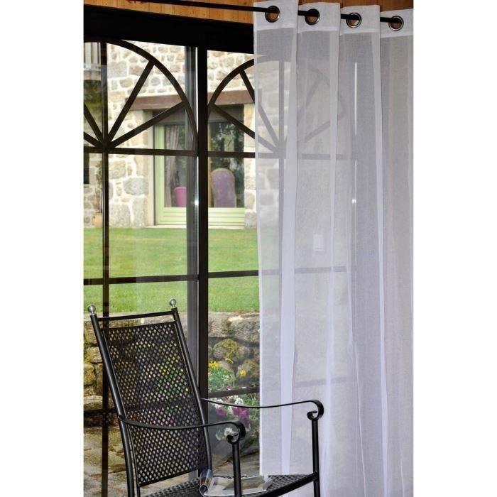 rideaux 3 metres voilage blanc achat vente rideau cdiscount. Black Bedroom Furniture Sets. Home Design Ideas