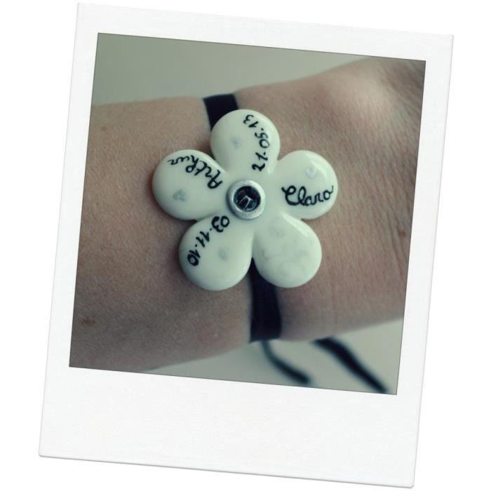 bracelet pr nom et date de naissance personnalis s fleur blanche et noire achat vente. Black Bedroom Furniture Sets. Home Design Ideas