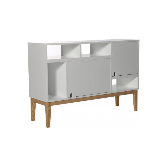 buffet scandinave destructur blanc 2 portes 4 niches l115 achat vente buffet bahut buffet. Black Bedroom Furniture Sets. Home Design Ideas
