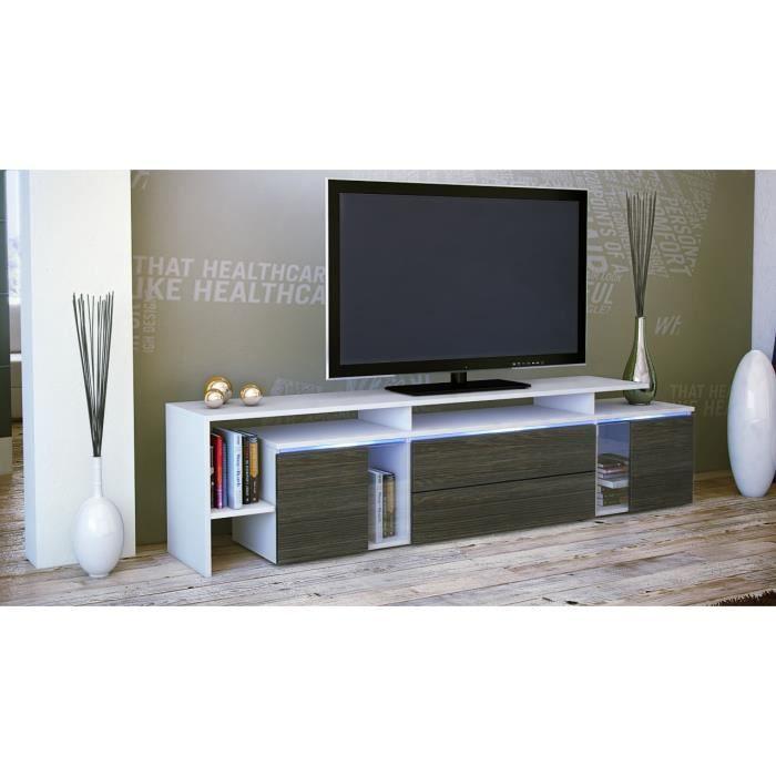 TV blanc-wengé 187 x 47 x 35 cm - Achat / Vente meuble tv Meuble tv ...