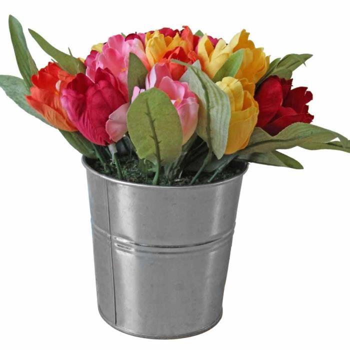 Bouquet de tulipes rouge jaune orange et rose en pot for Bouquet de fleurs orange et jaune