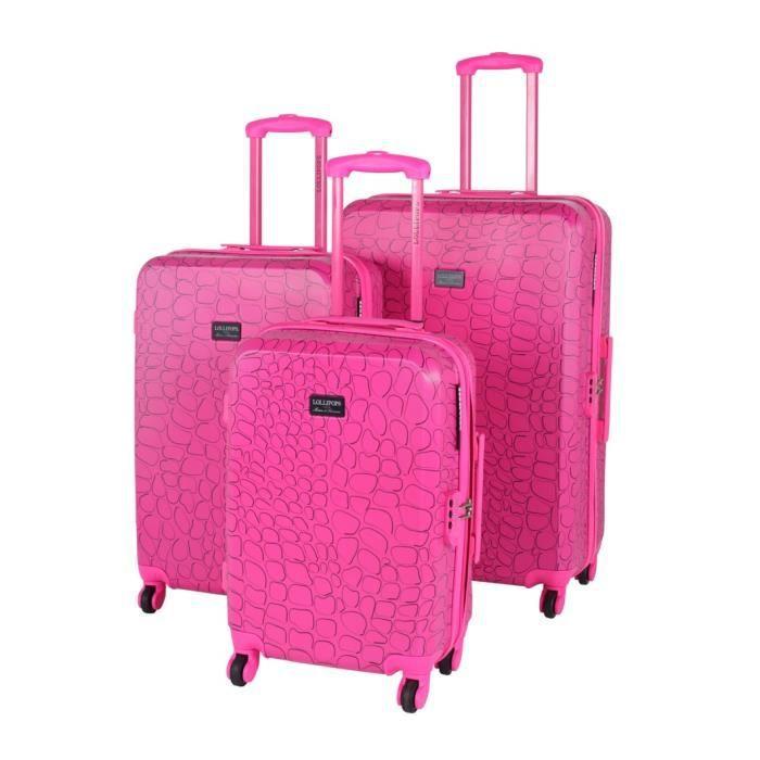 lot de 3 valises lollipops tigr rose rose achat vente. Black Bedroom Furniture Sets. Home Design Ideas