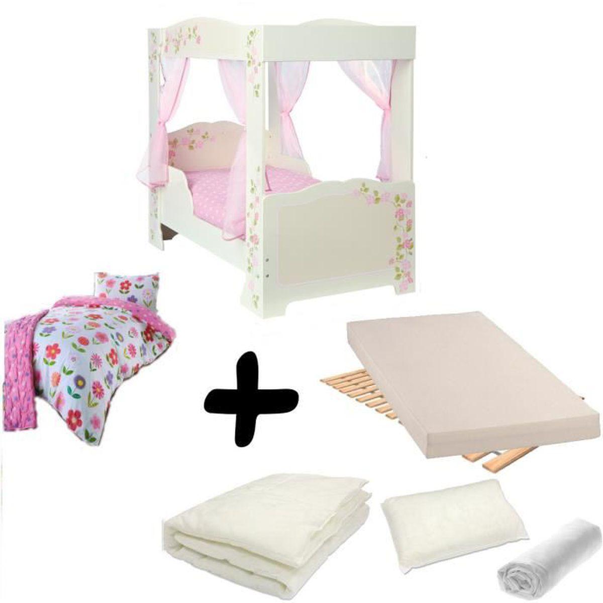 pack complet lit fille princesse baldaquin lit matelas parure couette oreiller rose. Black Bedroom Furniture Sets. Home Design Ideas