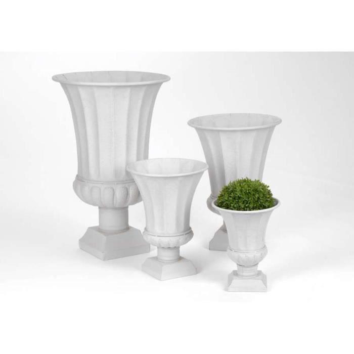lot de 4 grands vases m dicis blanc amadeus p achat vente vase soliflore fer cdiscount. Black Bedroom Furniture Sets. Home Design Ideas