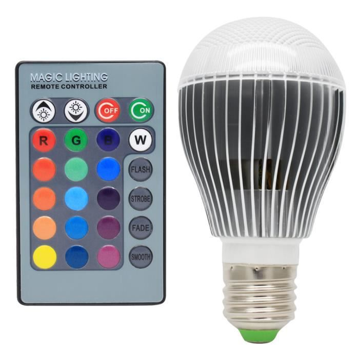 rgb ampoules led e27 5w multicolore led 16 changement de couleur d coration avec t l commande. Black Bedroom Furniture Sets. Home Design Ideas