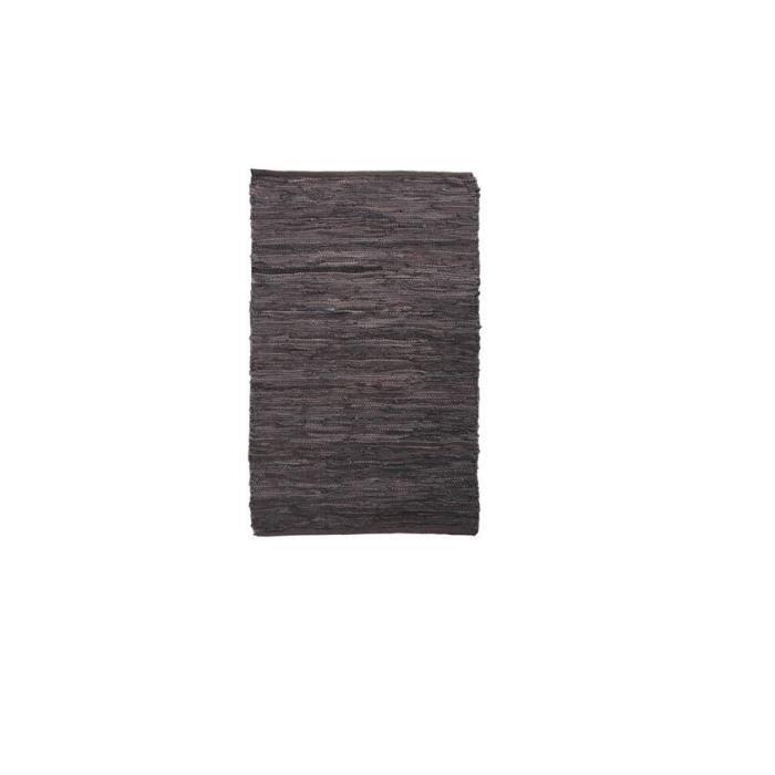 tapis descente de lit en cuir et coton marron achat vente tapis cdiscount. Black Bedroom Furniture Sets. Home Design Ideas
