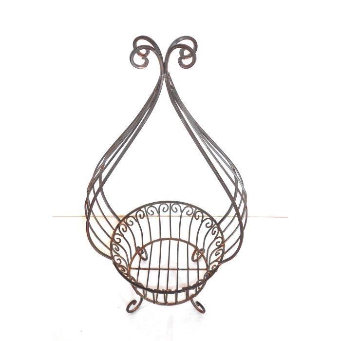porte plante cache pot fer forg 59x29x24 cm achat vente jardini re pot fleur porte plante. Black Bedroom Furniture Sets. Home Design Ideas