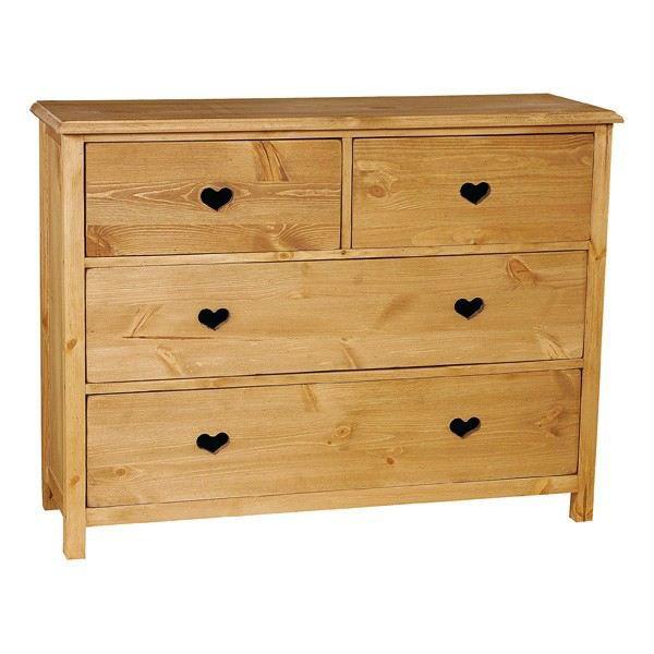 Commode rustique en pin avec coeur 4 tiroirs achat vente commode semain - Commode avec penderie ...
