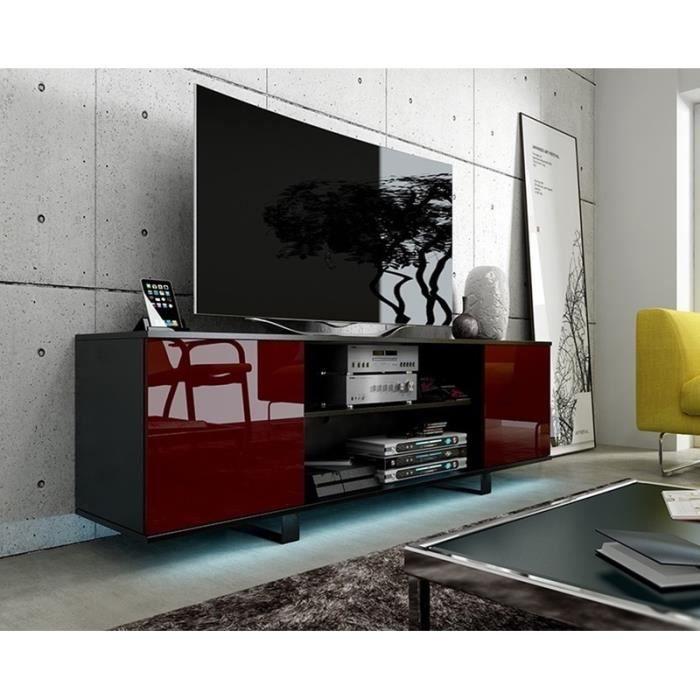 meuble tv t l vision vero avec led noir bordeaux brillant achat vente living meuble. Black Bedroom Furniture Sets. Home Design Ideas