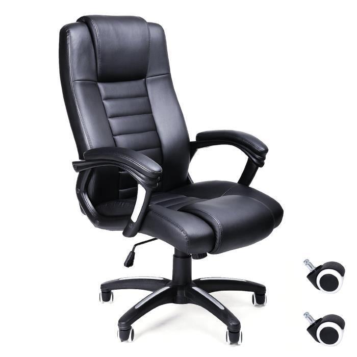 noir chaise fauteuil de bureau chaise pour ordinateur hauteur r glable simili cuir achat. Black Bedroom Furniture Sets. Home Design Ideas