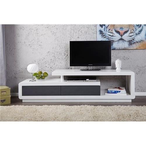Meuble tv design spring gris et blanc achat vente for Meuble tv blanc et gris