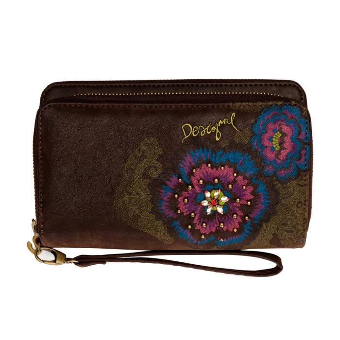 Portefeuille desigual two levels flowers diamond dor for Portefeuille desigual