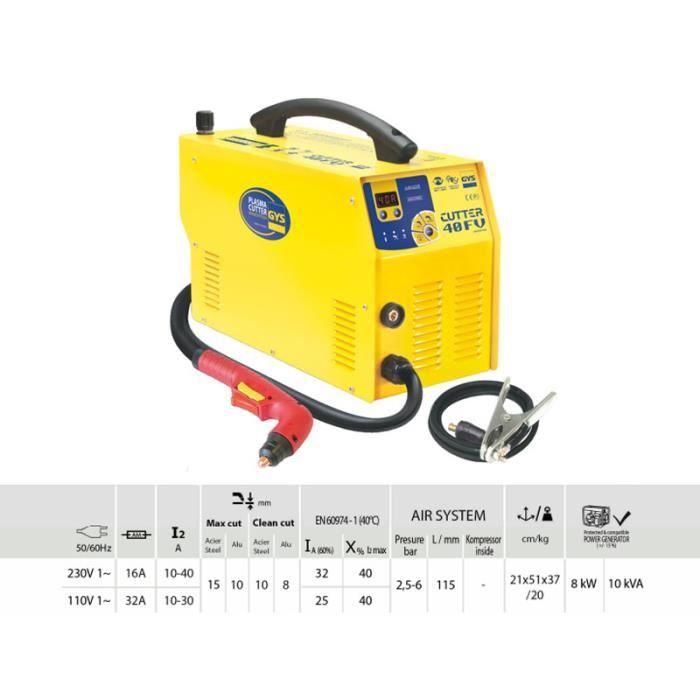 Decoupeur plasma cutter 40 fv gys 031043 achat vente - Decoupeur plasma gys ...