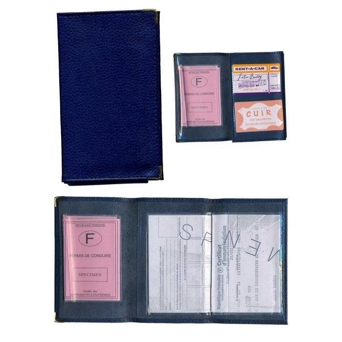 etui cuir porte carte grise papiers permis bleu achat housse chaussette pas cher avis et. Black Bedroom Furniture Sets. Home Design Ideas